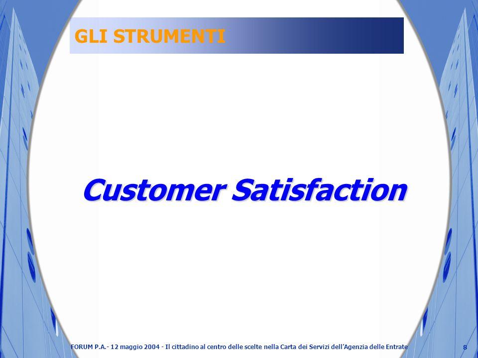 8 FORUM P.A.- 12 maggio 2004 - Il cittadino al centro delle scelte nella Carta dei Servizi dellAgenzia delle Entrate GLI STRUMENTI Customer Satisfaction