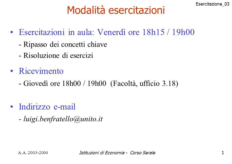 Esercitazione_03 A.A. 2003-2004Istituzioni di Economia - Corso Serale12 Curva di domanda