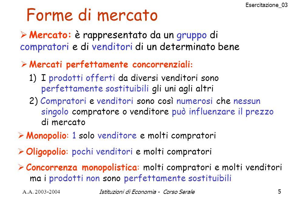 Esercitazione_03 A.A. 2003-2004Istituzioni di Economia - Corso Serale5 Forme di mercato Mercato: è rappresentato da un gruppo di compratori e di vendi