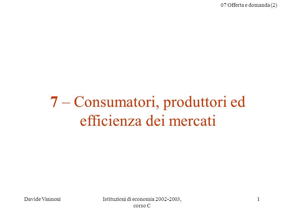 07 Offerta e domanda (2) Davide VannoniIstituzioni di economia 2002-2003, corso C 2 Questo file può essere scaricato da web.econ.unito.it/vannoni/teaching.html il nome del file è 07- offertadomanda-(2).ppt