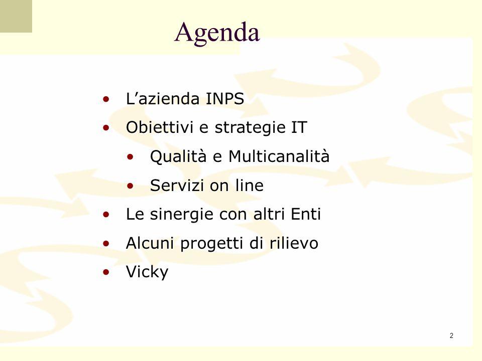 3 L INPS è il più grande ente previdenziale italiano: oltre 400 miliardi di euro in volume daffari tra entrate ed uscite Organizzazione distribuita sul territorio per la riscossione dei contributi, pagamento delle prestazioni non pensionistiche liquidazione e pagamento delle pensioni, etc… Direzione Generale 20 Direzioni Regionali 496 Uffici periferici 35.000 dipendenti Popolazione amministrata 42 milioni di cui: 20,2 milioni di lavoratori 1,5 milioni di aziende 17,8 milioni di pensionati 2,6 beneficiari di prestazioni a sostegno del reddito Lazienda INPS