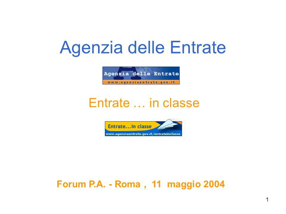 1 Agenzia delle Entrate Entrate … in classe Forum P.A. - Roma, 11 maggio 2004