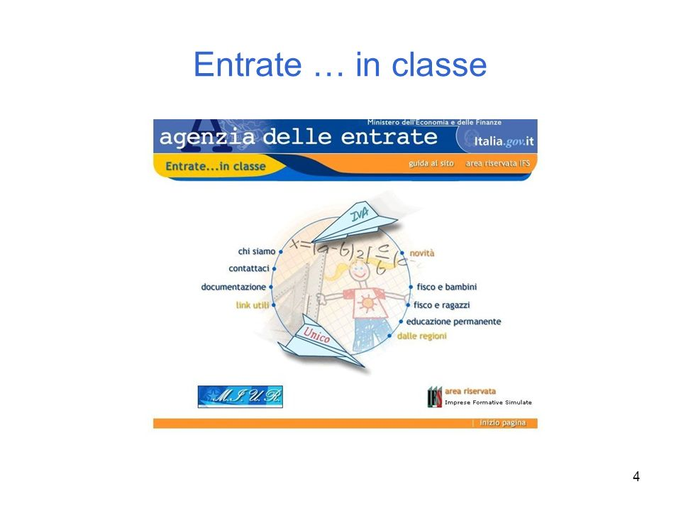5 Il sito Entrate … in classe è nato per ospitare Simuentrate e per raccogliere organicamente le iniziative degli uffici locali.