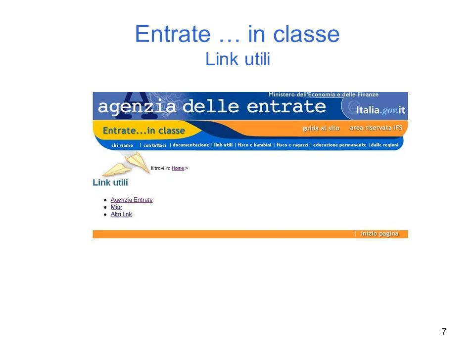7 Entrate … in classe Link utili