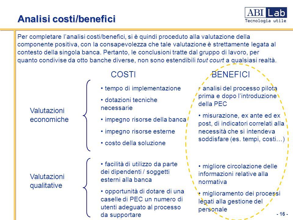 - 16 - Analisi costi/benefici Per completare lanalisi costi/benefici, si è quindi proceduto alla valutazione della componente positiva, con la consape