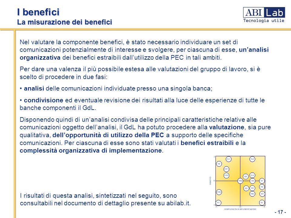 - 17 - I benefici La misurazione dei benefici Nel valutare la componente benefici, è stato necessario individuare un set di comunicazioni potenzialmen