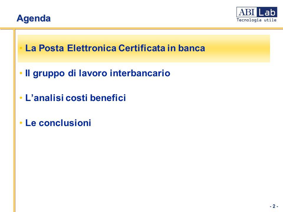 - 2 - Agenda La Posta Elettronica Certificata in banca Il gruppo di lavoro interbancario Lanalisi costi benefici Le conclusioni