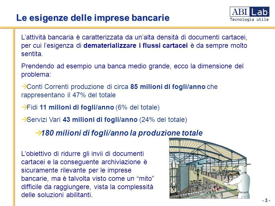 - 3 - Le esigenze delle imprese bancarie Lattività bancaria è caratterizzata da unalta densità di documenti cartacei, per cui lesigenza di demateriali