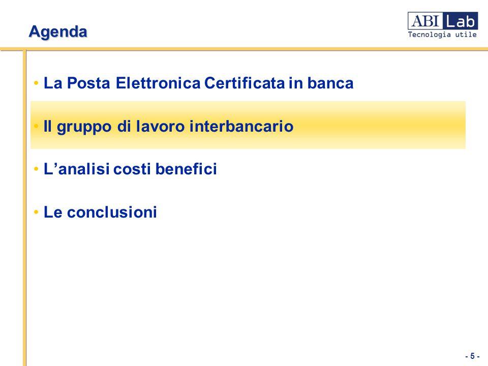 - 5 - Agenda La Posta Elettronica Certificata in banca Il gruppo di lavoro interbancario Lanalisi costi benefici Le conclusioni