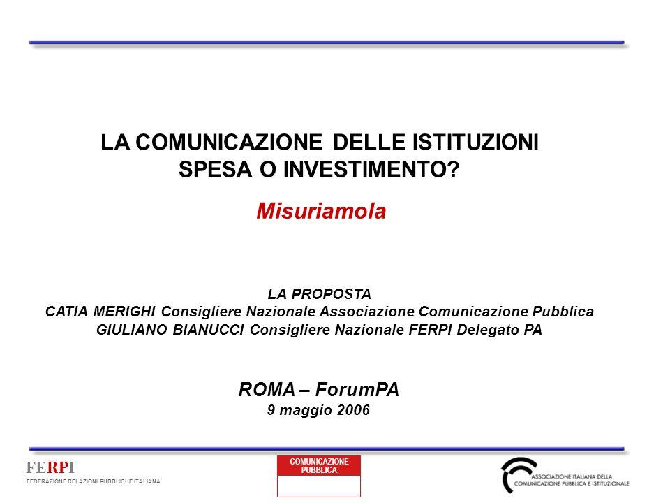 FERPI FEDERAZIONE RELAZIONI PUBBLICHE ITALIANA LA COMUNICAZIONE DELLE ISTITUZIONI SPESA O INVESTIMENTO? Misuriamola ROMA – ForumPA 9 maggio 2006 LA PR
