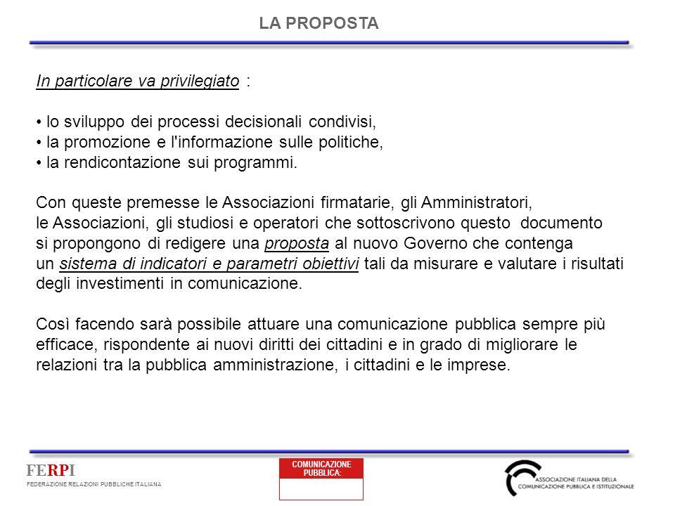 FERPI FEDERAZIONE RELAZIONI PUBBLICHE ITALIANA In particolare va privilegiato : lo sviluppo dei processi decisionali condivisi, la promozione e l informazione sulle politiche, la rendicontazione sui programmi.