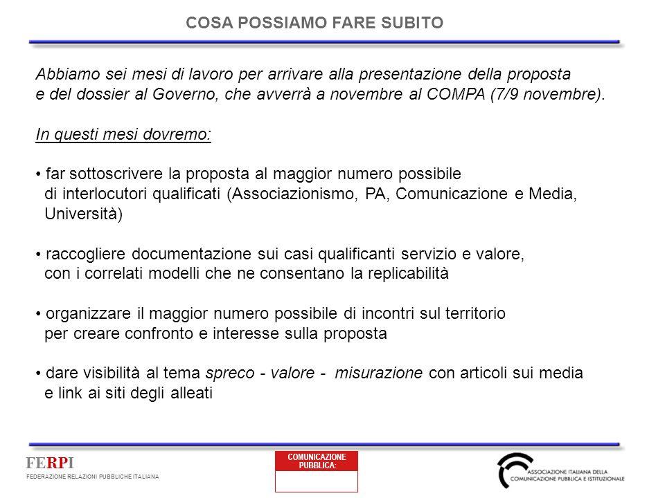 FERPI FEDERAZIONE RELAZIONI PUBBLICHE ITALIANA COSA POSSIAMO FARE SUBITO Abbiamo sei mesi di lavoro per arrivare alla presentazione della proposta e del dossier al Governo, che avverrà a novembre al COMPA (7/9 novembre).