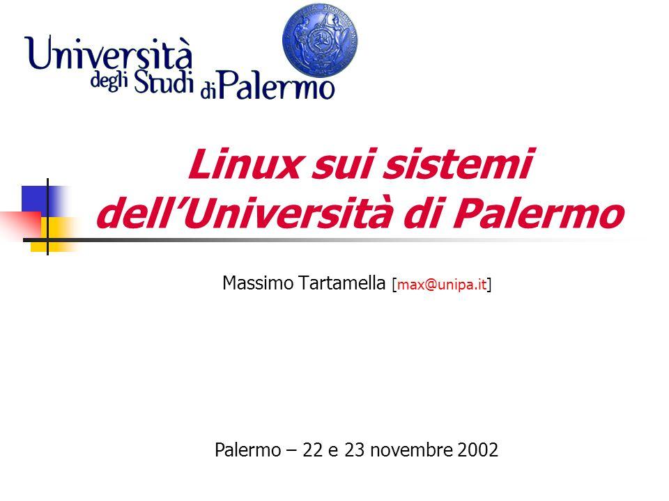 Indice Cronologia degli eventi rilevanti Infrastruttura della rete universitaria I Server di rete Il progetto GARR-B per lUniversità di Palermo Firewall, IDS, … Open Mosix: cluster per il calcolo distribuito LVS (Linux Virtual Server): cluster per il bilanciamento dei servizi di rete