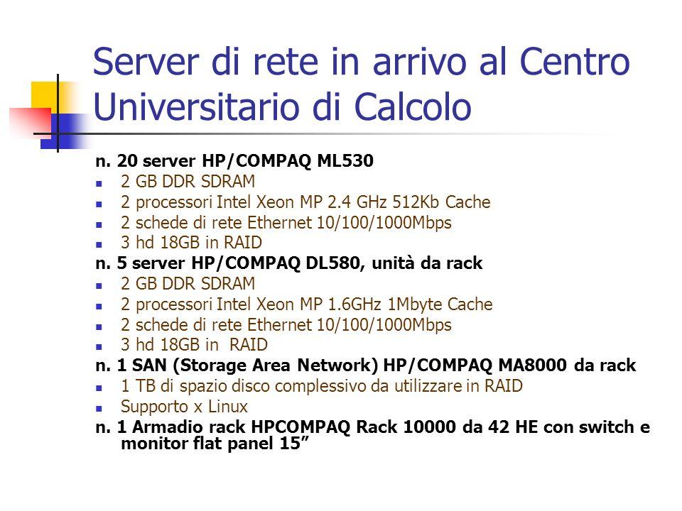 Server di rete in arrivo al Centro Universitario di Calcolo n. 20 server HP/COMPAQ ML530 2 GB DDR SDRAM 2 processori Intel Xeon MP 2.4 GHz 512Kb Cache