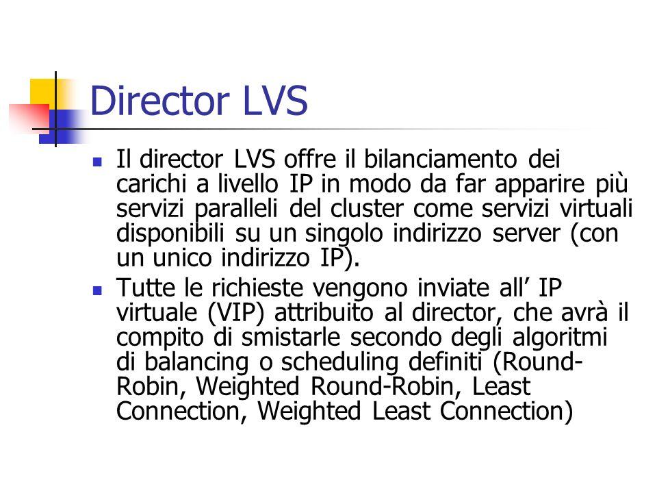 Director LVS Il director LVS offre il bilanciamento dei carichi a livello IP in modo da far apparire più servizi paralleli del cluster come servizi vi