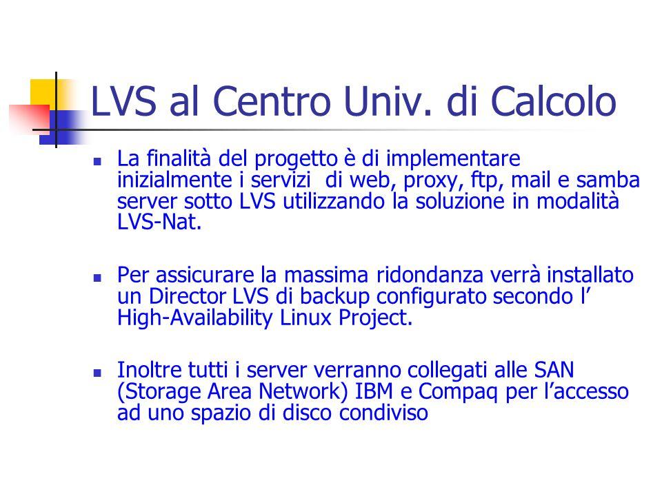 LVS al Centro Univ. di Calcolo La finalità del progetto è di implementare inizialmente i servizi di web, proxy, ftp, mail e samba server sotto LVS uti