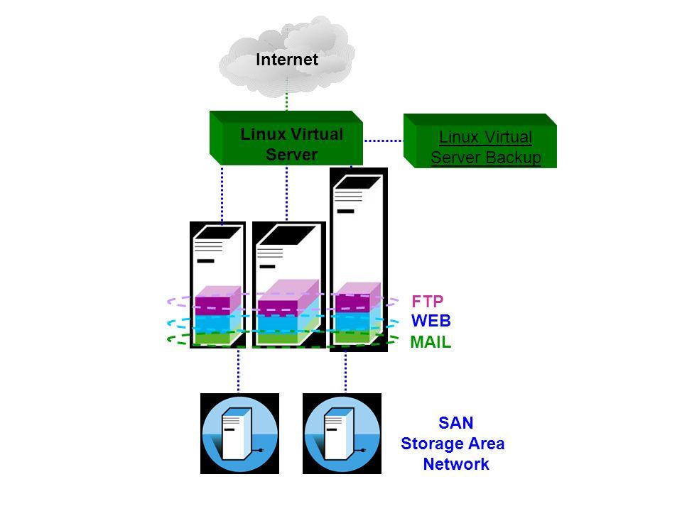 FTP WEB MAIL SAN Storage Area Network Internet Linux Virtual Server Linux Virtual Server Backup