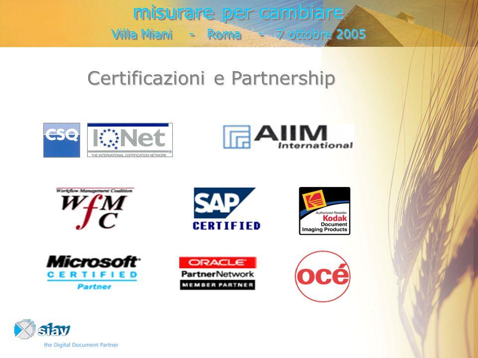 Certificazioni e Partnership misurare per cambiare Villa Miani - Roma - 7 ottobre 2005 misurare per cambiare Villa Miani - Roma - 7 ottobre 2005
