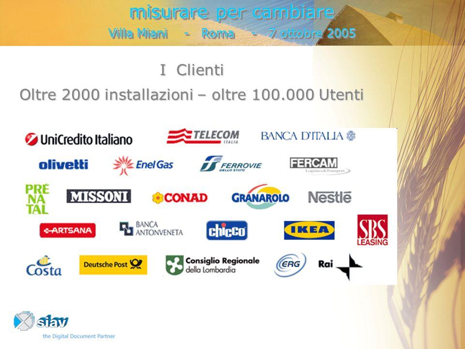 I Clienti Oltre 2000 installazioni – oltre 100.000 Utenti misurare per cambiare Villa Miani - Roma - 7 ottobre 2005 misurare per cambiare Villa Miani - Roma - 7 ottobre 2005