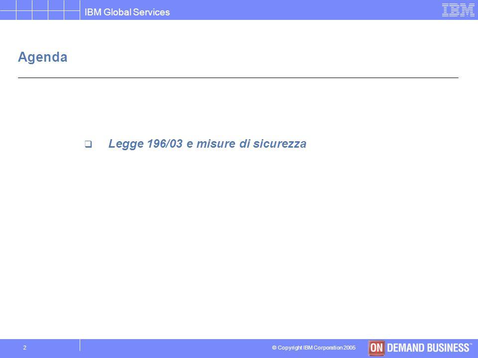 © Copyright IBM Corporation 2005 IBM Global Services 22 Case history Istituto Clinico in Lombardia Obiettivi Conformita alla legge 196/03 per le Cliniche del Gruppo.