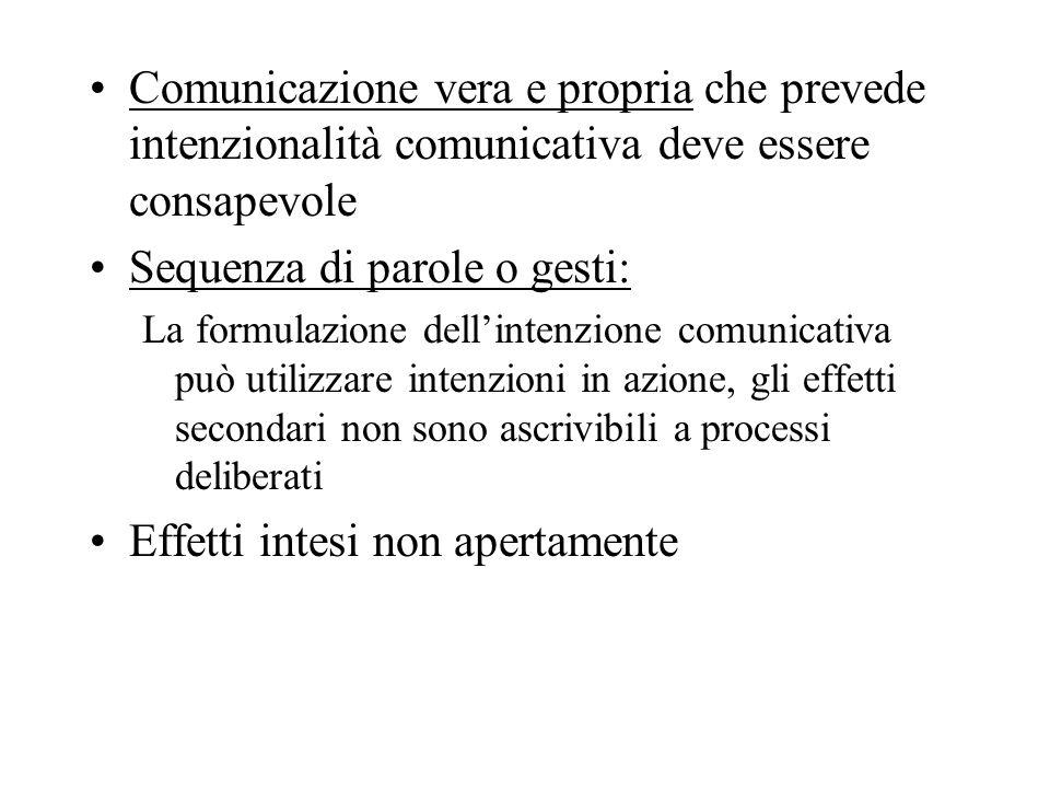 Comunicazione vera e propria che prevede intenzionalità comunicativa deve essere consapevole Sequenza di parole o gesti: La formulazione dellintenzion