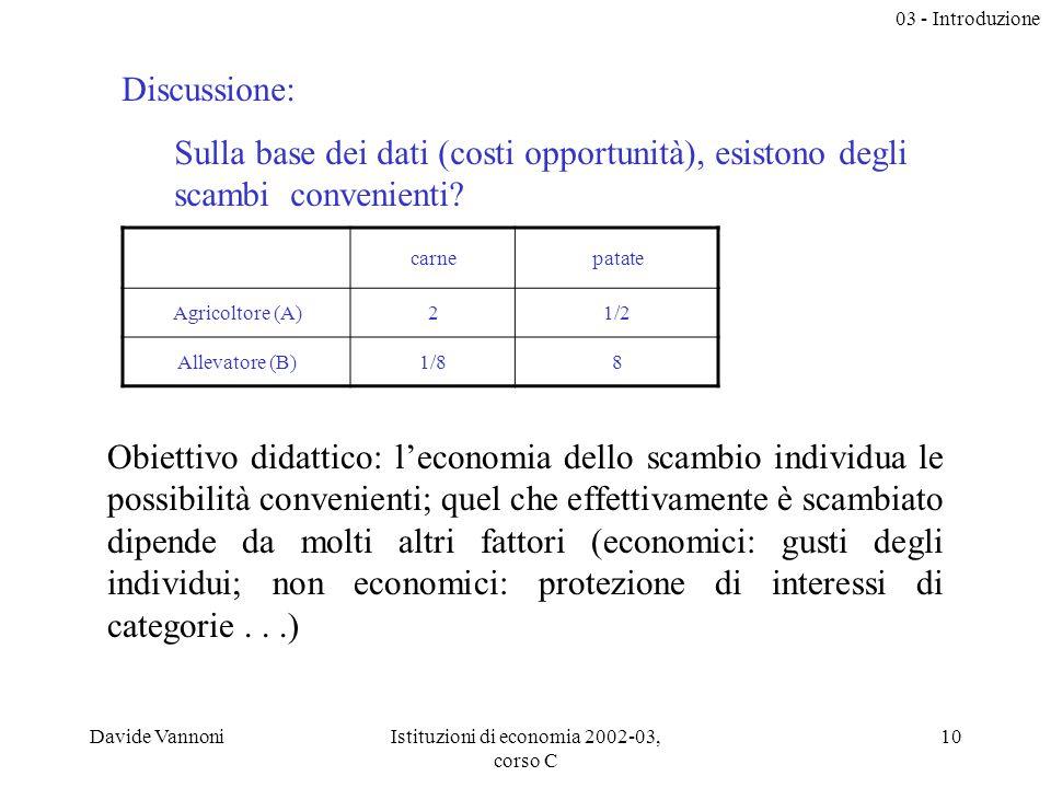 03 - Introduzione Davide VannoniIstituzioni di economia 2002-03, corso C 10 Discussione: Sulla base dei dati (costi opportunità), esistono degli scambi convenienti.