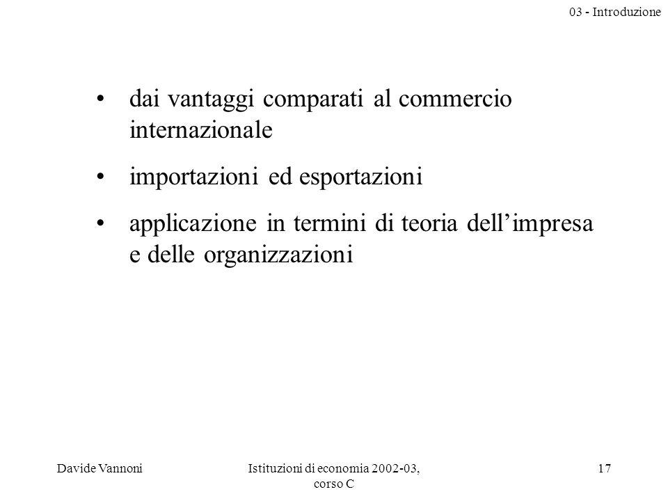 03 - Introduzione Davide VannoniIstituzioni di economia 2002-03, corso C 17 dai vantaggi comparati al commercio internazionale importazioni ed esportazioni applicazione in termini di teoria dellimpresa e delle organizzazioni