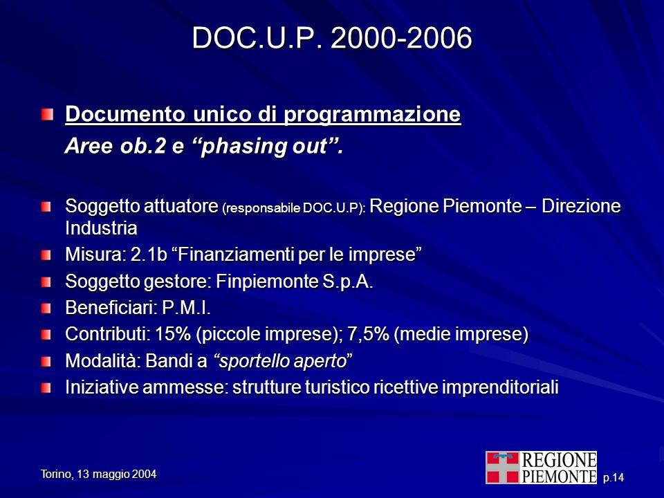 Torino, 13 maggio 2004 p.14 DOC.U.P. 2000-2006 Documento unico di programmazione Aree ob.2 e phasing out. Aree ob.2 e phasing out. Soggetto attuatore