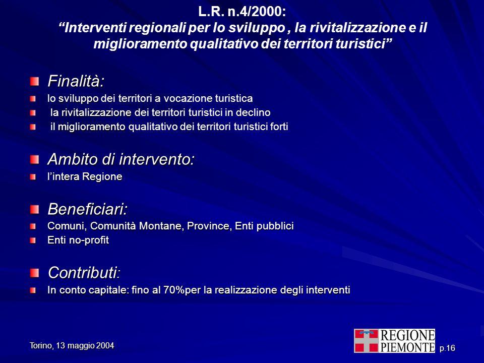 Torino, 13 maggio 2004 p.16 L.R. n.4/2000: Interventi regionali per lo sviluppo, la rivitalizzazione e il miglioramento qualitativo dei territori turi