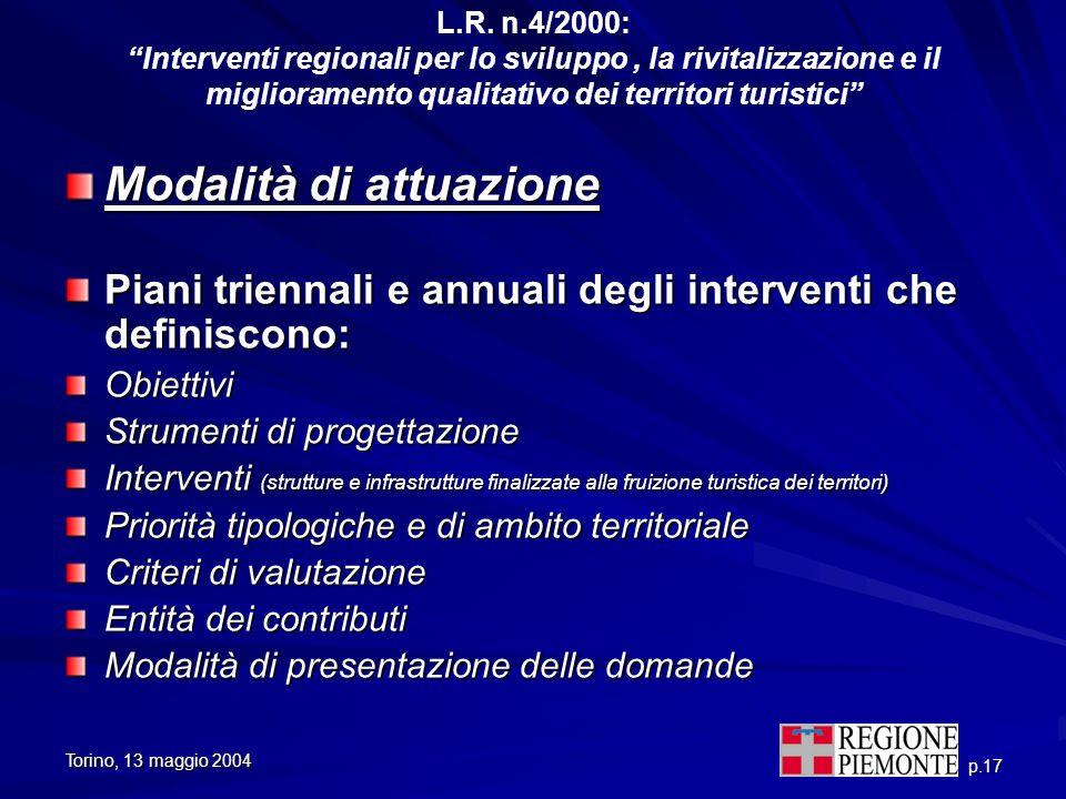 Torino, 13 maggio 2004 p.17 L.R. n.4/2000: Interventi regionali per lo sviluppo, la rivitalizzazione e il miglioramento qualitativo dei territori turi