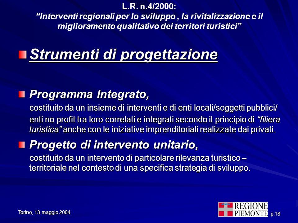 Torino, 13 maggio 2004 p.18 L.R. n.4/2000: Interventi regionali per lo sviluppo, la rivitalizzazione e il miglioramento qualitativo dei territori turi