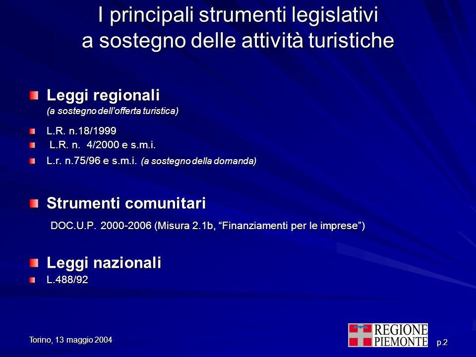 p.2 I principali strumenti legislativi a sostegno delle attività turistiche Leggi regionali (a sostegno dellofferta turistica) (a sostegno dellofferta
