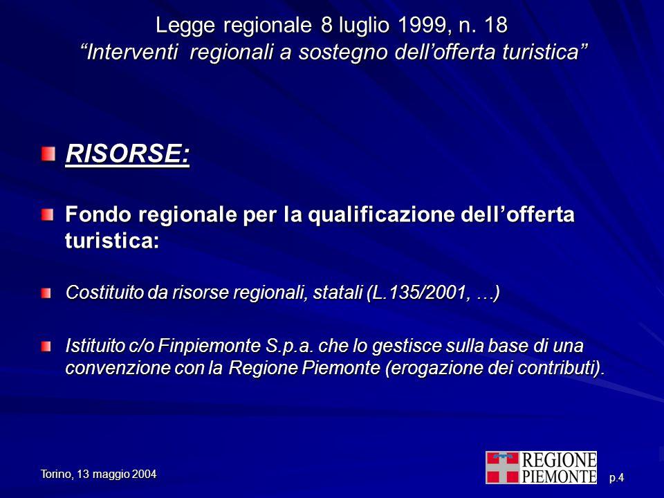 Torino, 13 maggio 2004 p.4 Legge regionale 8 luglio 1999, n. 18 Interventi regionali a sostegno dellofferta turistica RISORSE: Fondo regionale per la