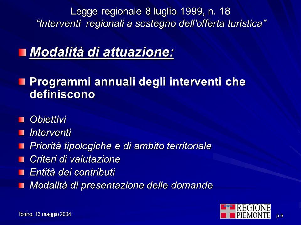 Torino, 13 maggio 2004 p.5 Legge regionale 8 luglio 1999, n. 18 Interventi regionali a sostegno dellofferta turistica Modalità di attuazione: Programm