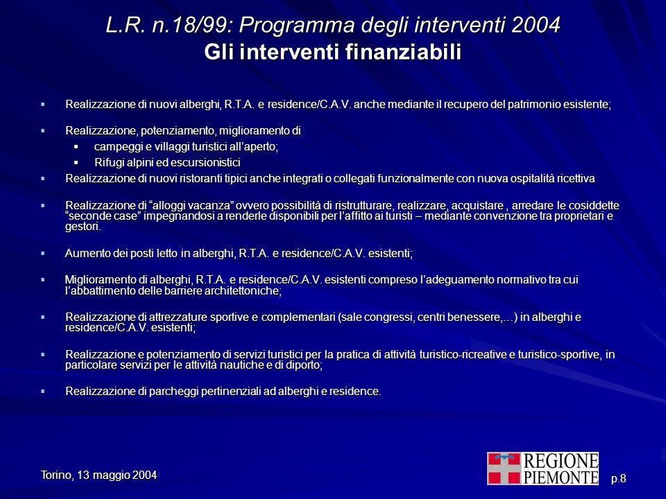 Torino, 13 maggio 2004 p.8 L.R. n.18/99: Programma degli interventi 2004 Gli interventi finanziabili Realizzazione di nuovi alberghi, R.T.A. e residen
