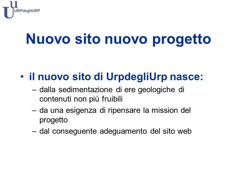 Nuovo sito nuovo progetto il nuovo sito di UrpdegliUrp nasce: –dalla sedimentazione di ere geologiche di contenuti non più fruibili –da una esigenza di ripensare la mission del progetto –dal conseguente adeguamento del sito web