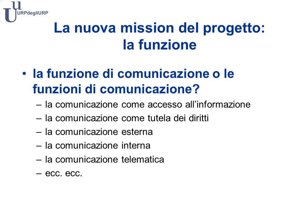 La nuova mission del progetto: la funzione la funzione di comunicazione o le funzioni di comunicazione.