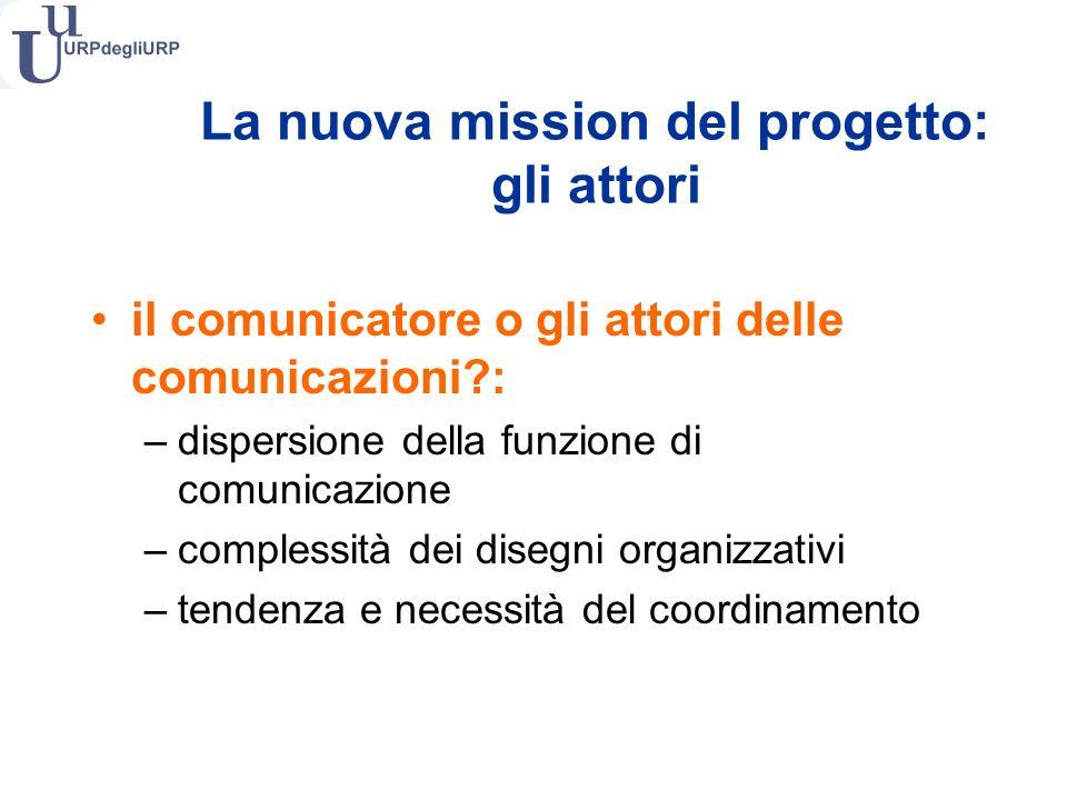 il comunicatore o gli attori delle comunicazioni : –dispersione della funzione di comunicazione –complessità dei disegni organizzativi –tendenza e necessità del coordinamento La nuova mission del progetto: gli attori