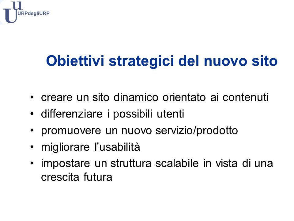 Obiettivi strategici del nuovo sito creare un sito dinamico orientato ai contenuti differenziare i possibili utenti promuovere un nuovo servizio/prodotto migliorare lusabilità impostare un struttura scalabile in vista di una crescita futura