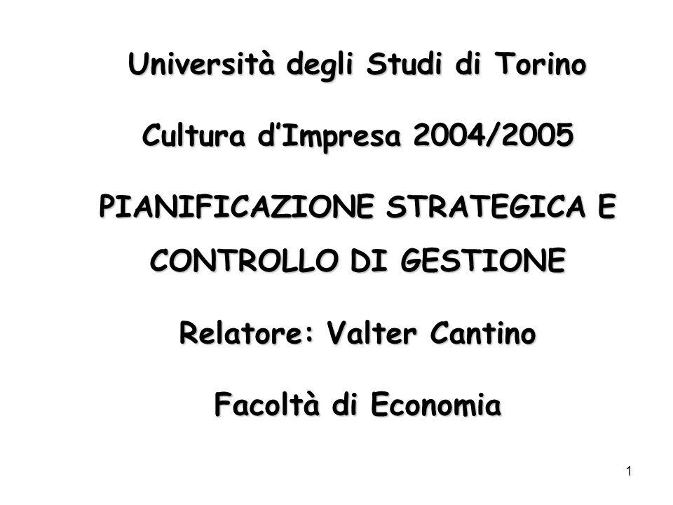 1 Università degli Studi di Torino Cultura dImpresa 2004/2005 PIANIFICAZIONE STRATEGICA E CONTROLLO DI GESTIONE Relatore: Valter Cantino Facoltà di Ec