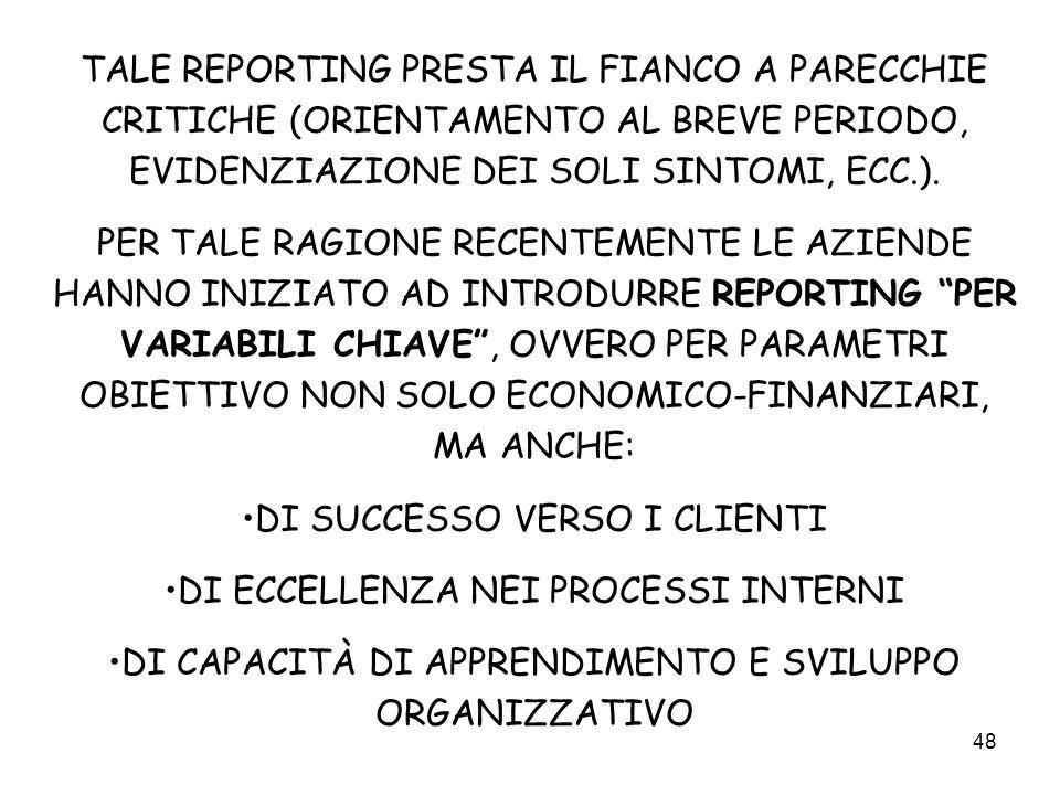 48 TALE REPORTING PRESTA IL FIANCO A PARECCHIE CRITICHE (ORIENTAMENTO AL BREVE PERIODO, EVIDENZIAZIONE DEI SOLI SINTOMI, ECC.). PER TALE RAGIONE RECEN