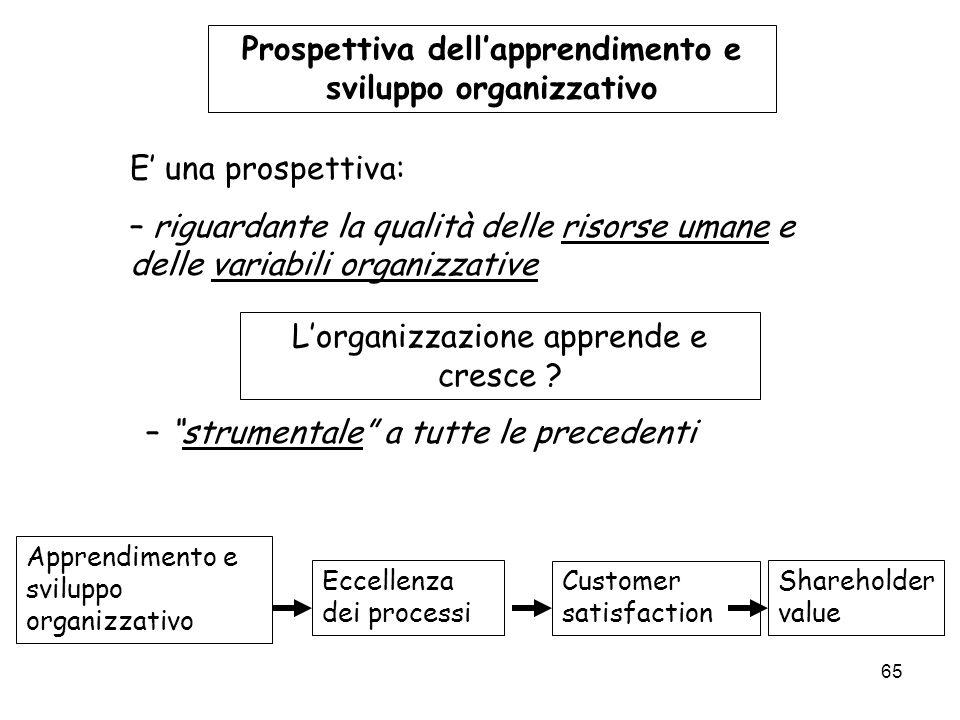 65 Prospettiva dellapprendimento e sviluppo organizzativo E una prospettiva: – riguardante la qualità delle risorse umane e delle variabili organizzat