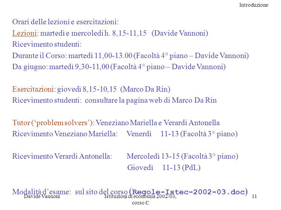 Introduzione Davide VannoniIstituzioni di economia 2002/03, corso C 11 Orari delle lezioni e esercitazioni: Lezioni: martedì e mercoledi h.