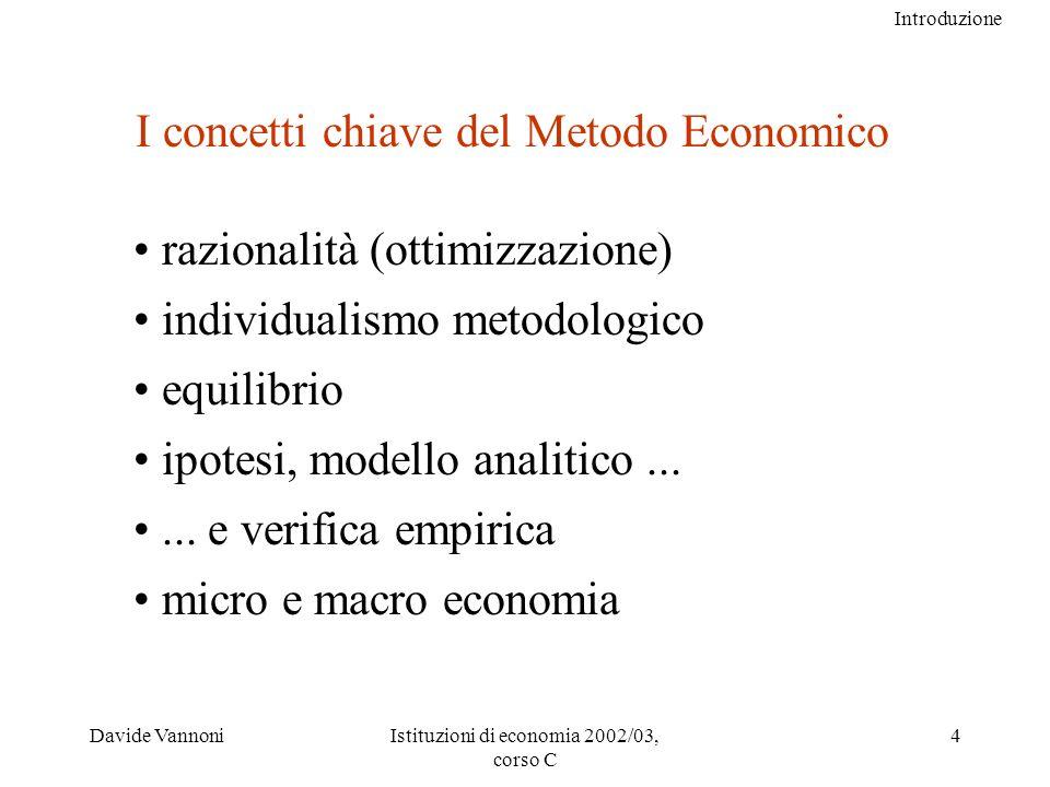 Introduzione Davide VannoniIstituzioni di economia 2002/03, corso C 4 I concetti chiave del Metodo Economico razionalità (ottimizzazione) individualismo metodologico equilibrio ipotesi, modello analitico......