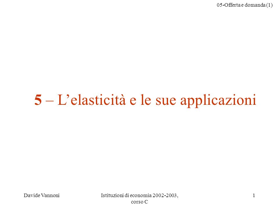 05-Offerta e domanda (1) Davide VannoniIstituzioni di economia 2002-2003, corso C 1 5 – Lelasticità e le sue applicazioni