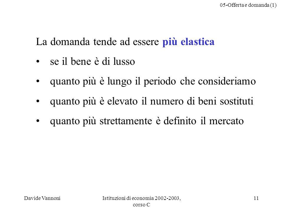 05-Offerta e domanda (1) Davide VannoniIstituzioni di economia 2002-2003, corso C 11 La domanda tende ad essere più elastica se il bene è di lusso quanto più è lungo il periodo che consideriamo quanto più è elevato il numero di beni sostituti quanto più strettamente è definito il mercato