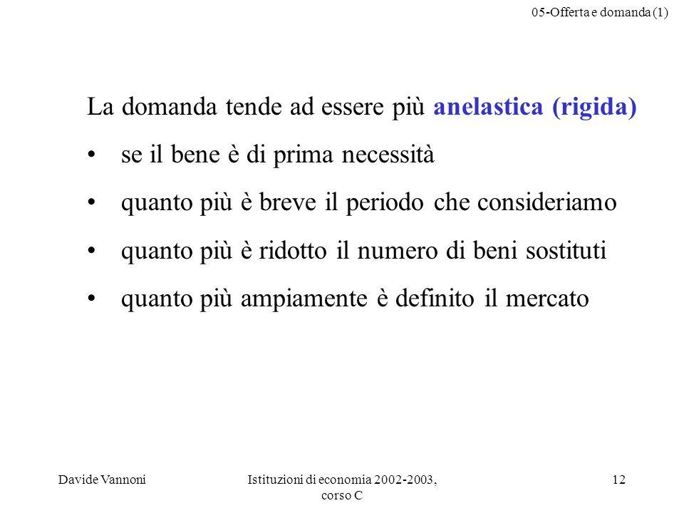 05-Offerta e domanda (1) Davide VannoniIstituzioni di economia 2002-2003, corso C 12 La domanda tende ad essere più anelastica (rigida) se il bene è d