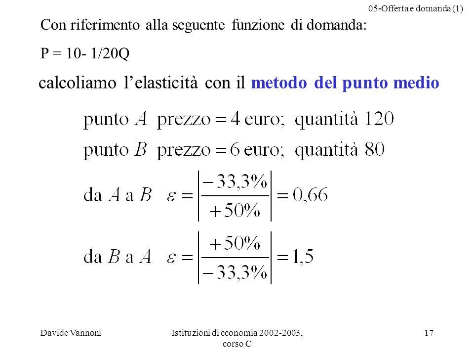05-Offerta e domanda (1) Davide VannoniIstituzioni di economia 2002-2003, corso C 17 calcoliamo lelasticità con il metodo del punto medio Con riferimento alla seguente funzione di domanda: P = 10- 1/20Q