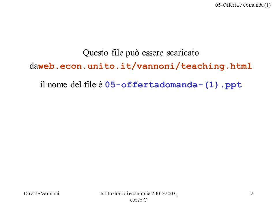 05-Offerta e domanda (1) Davide VannoniIstituzioni di economia 2002-2003, corso C 2 Questo file può essere scaricato da web.econ.unito.it/vannoni/teaching.html il nome del file è 05-offertadomanda-(1).ppt