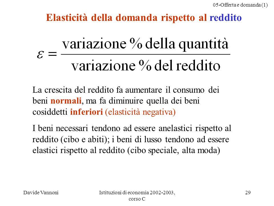 05-Offerta e domanda (1) Davide VannoniIstituzioni di economia 2002-2003, corso C 29 Elasticità della domanda rispetto al reddito La crescita del redd